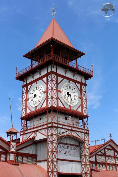 The iconic wrought-iron clock tower of Stabroek Market in Georgetown.