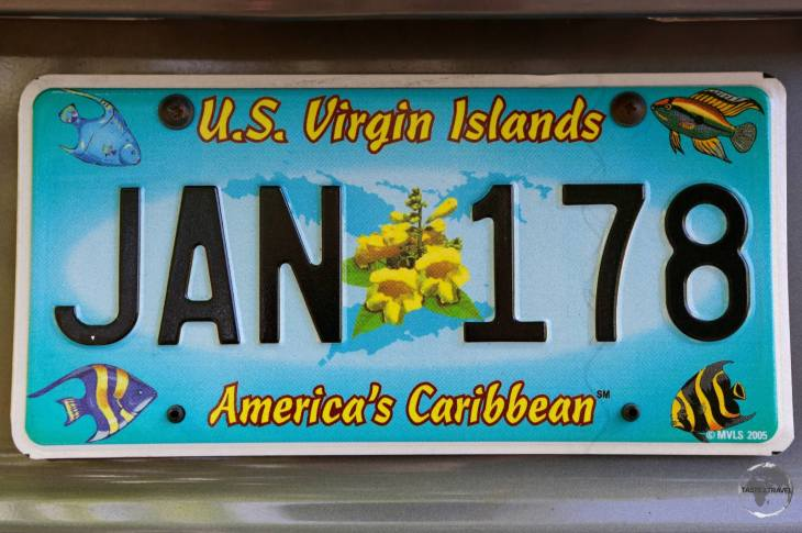 The license plate of my rental car on St. John.