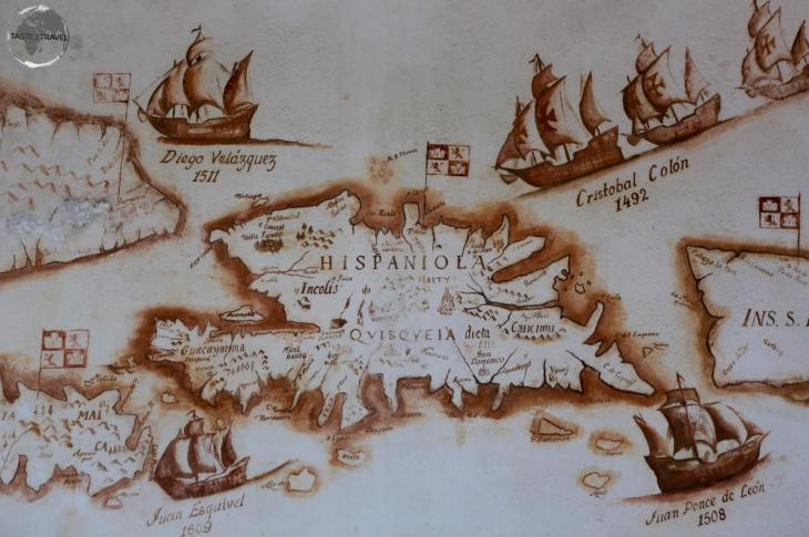Map of Hispaniola in the Museo de las Casas Reales, Santo Domingo.