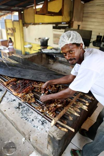 'Jerk' BBQ is the most popular cuisine on Jamaica, seen here at Boston Bay.