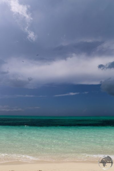 Stormy skies over 'The Bight' beach, one of the best beaches on Provo island.