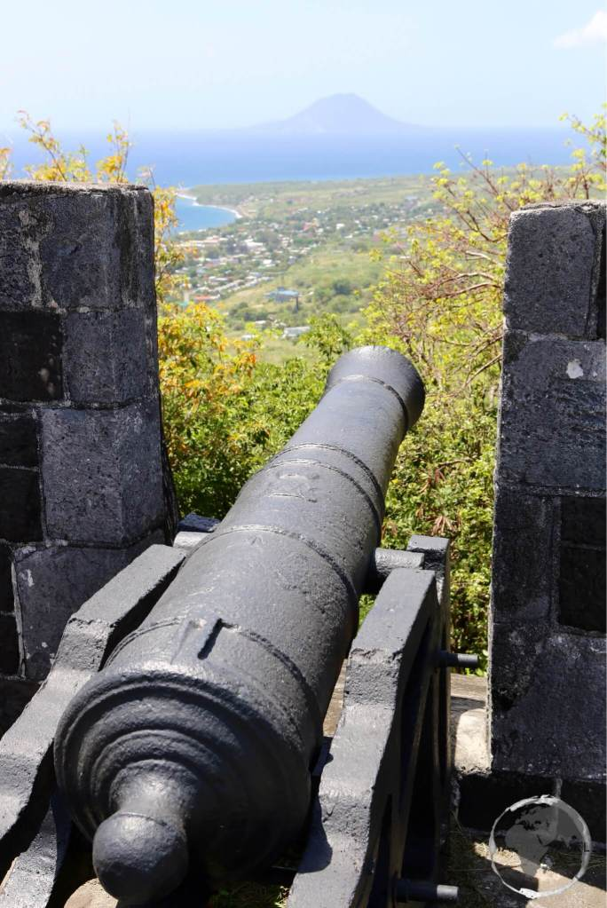 View from Brimstone Hill fortress. The island of Statia can be seen in the distance.