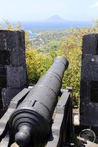 View of St. Kitts from Brimstone Hill fortress. The island of Statia can be seen in the background.