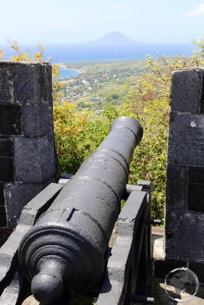 View of St. Kitts from Brimstone Hill fortress with the Dutch island of Statia in the background.