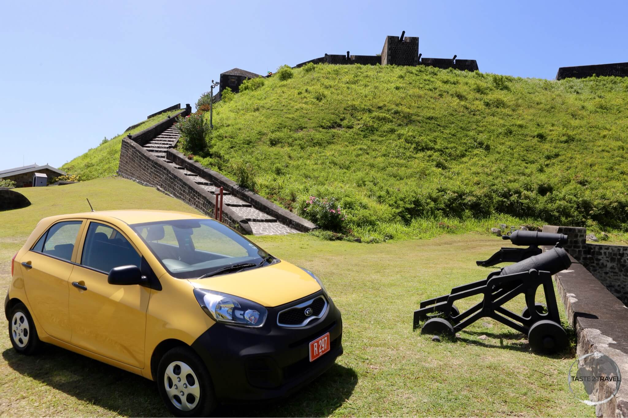 Hire car is a great way to explore both islands. My car parked at Brimstone Hill fortress.