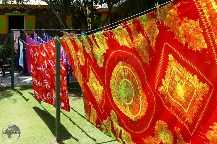 Colourful batik drying at 'Caribelle Batik' whose workshop is located at Romney Manor.