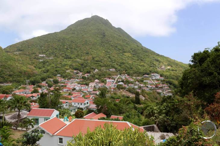 Mount Scenery looms large over the town of Windwardside.