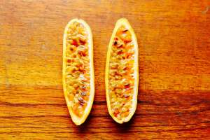 Bisected Banana passionfruit