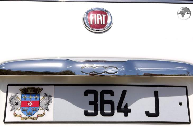 The license plate of my rental car on St. Barts.