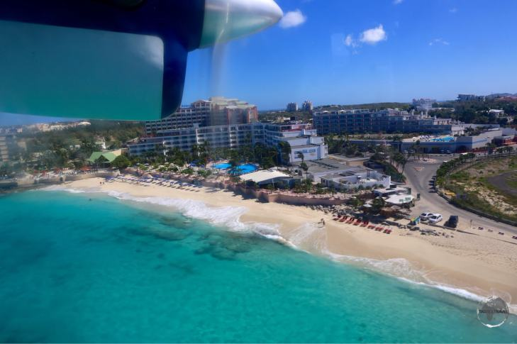 On final approach to St. Martin, passing over Maho beach.