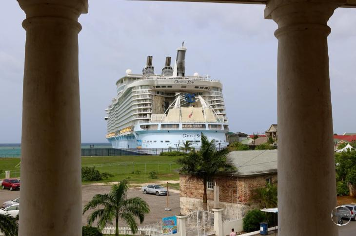 The gigantic 'Oasis of the Seas' cruise ship, which can carry 5,484 passengers, docked at Falmouth harbour.