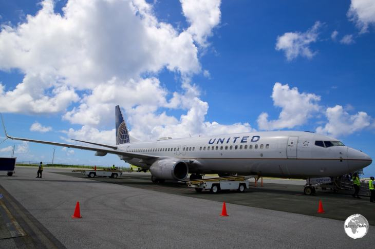 The United Airlines 'Island Hopper' - UA154 - at Kosrae International Airport.