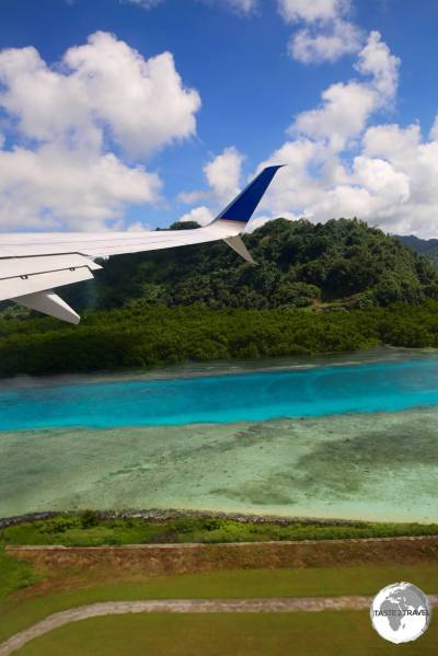 "Departing Kosrae on United Airlines ""Island Hopper"" UA154."
