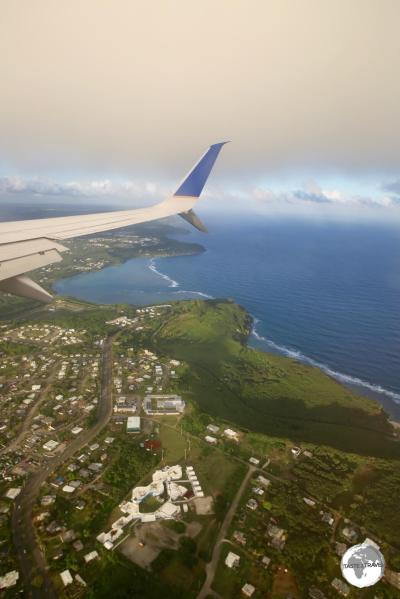 "The view from my flight on United Airlines ""Island Hopper"" (UA154) on final approach to Guam."