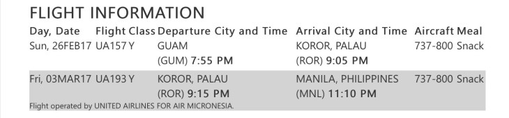 Itinerary - Guam to Manila.