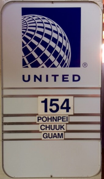 Flight board for United Airline's famous Island Hopper - UA154.