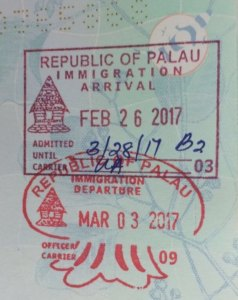 Palau passport stamps.