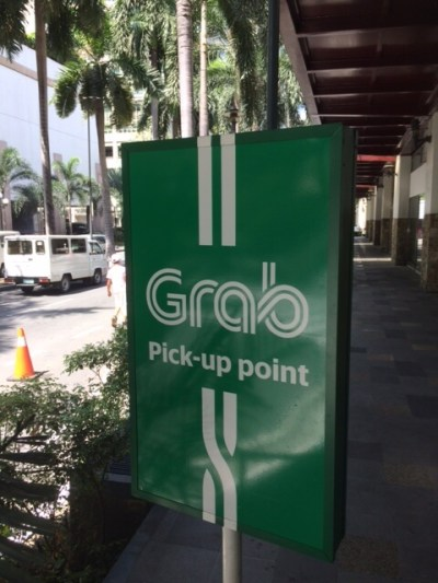 Grab Pick-up Point at NAIA in Manila.