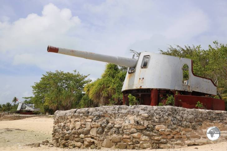 WWII-era anti-aircraft guns on the beach at Betio Island.