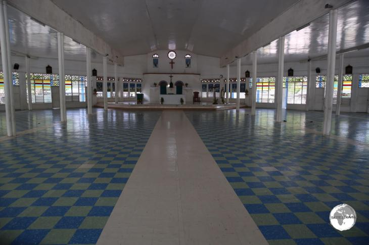 Interior of St. Paul's church on Betio Island.