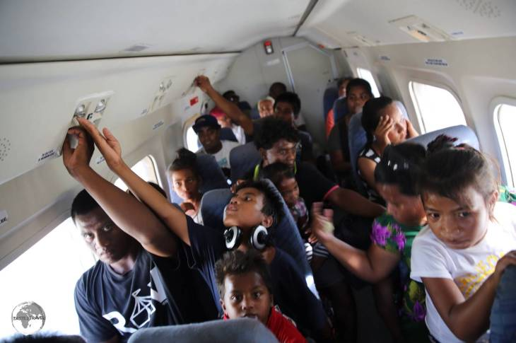 Plenty of room for everyone aboard the over-filled Air Kiribati flight from Maiana Island to Bonriki.