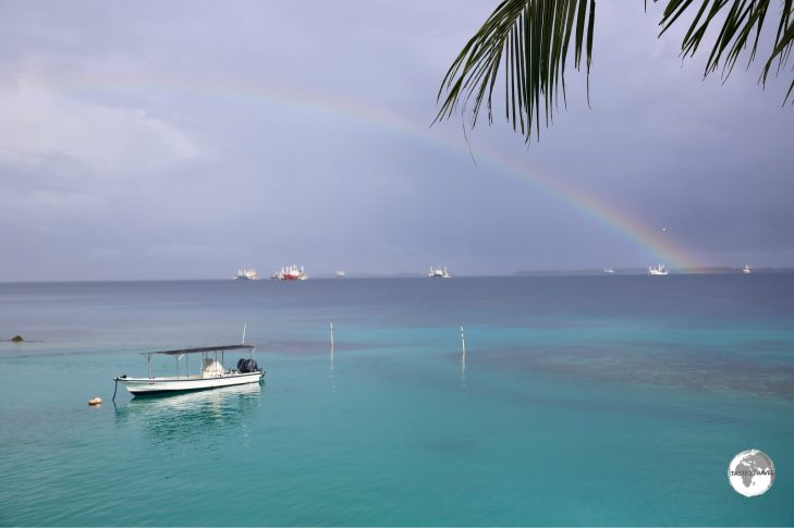 A rainbow over the Pacific, as viewed from the Marshall Islands Resort.