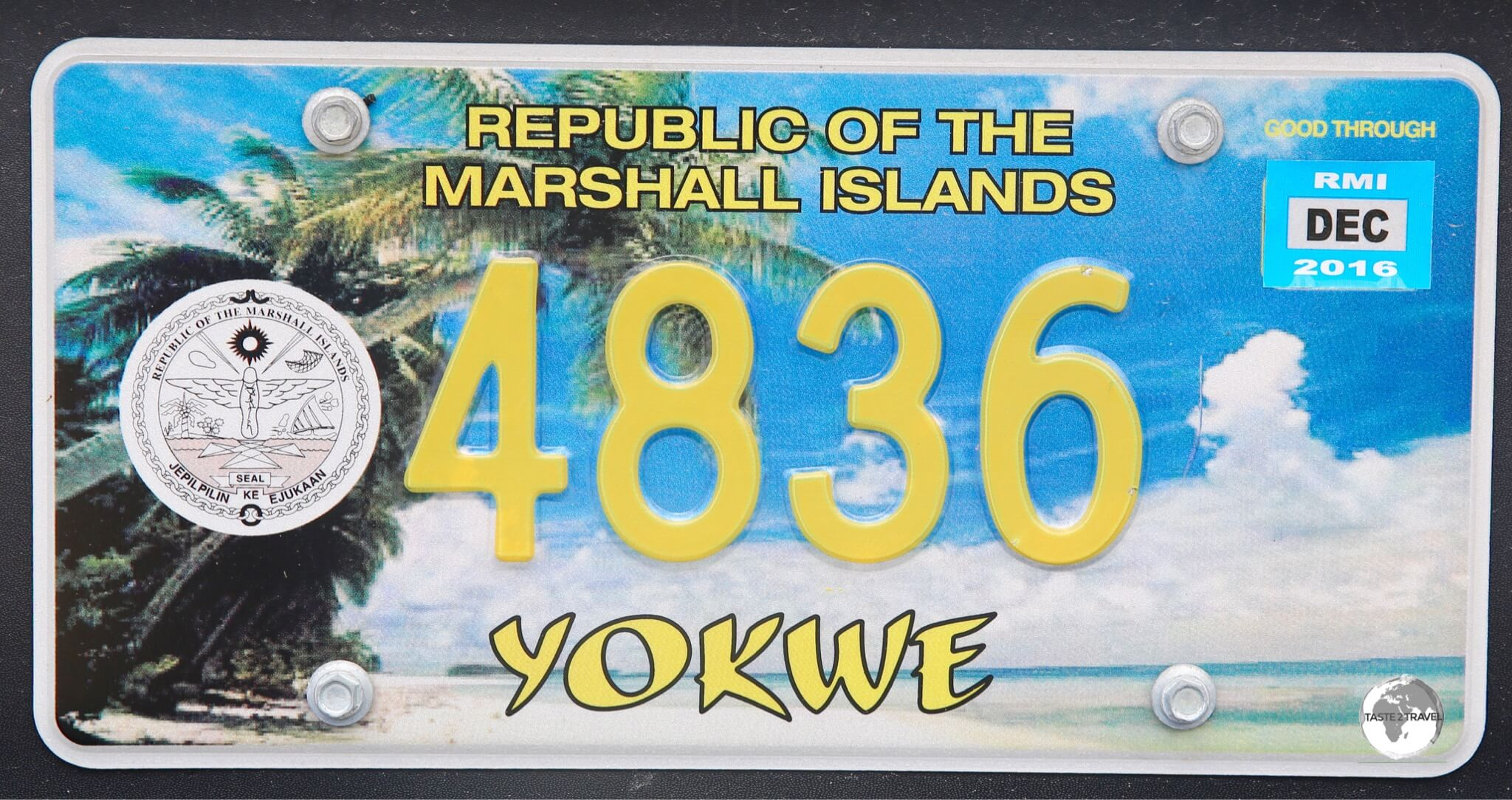 Marshall Islands License Plate.