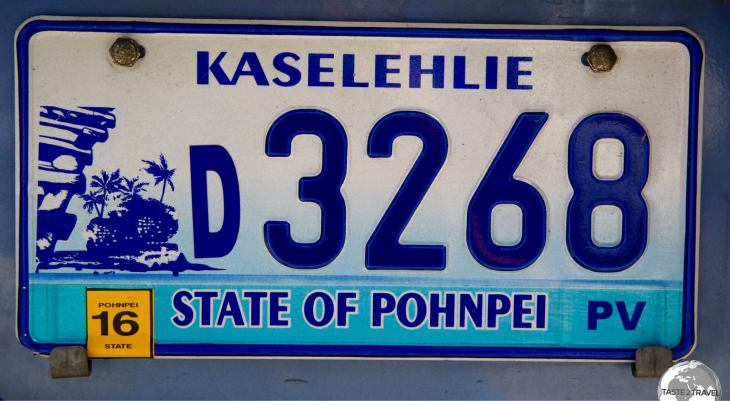 The license plate of my rental car on Pohnpei.