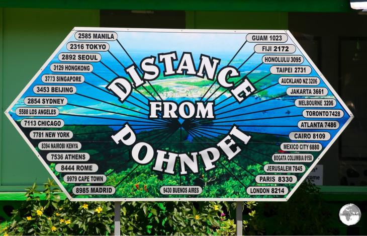 Distance marker in Kolonia - everywhere is a long way from Pohnpei.