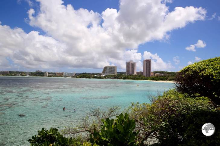 Popular Tumon Bay is lined with luxury hotels.