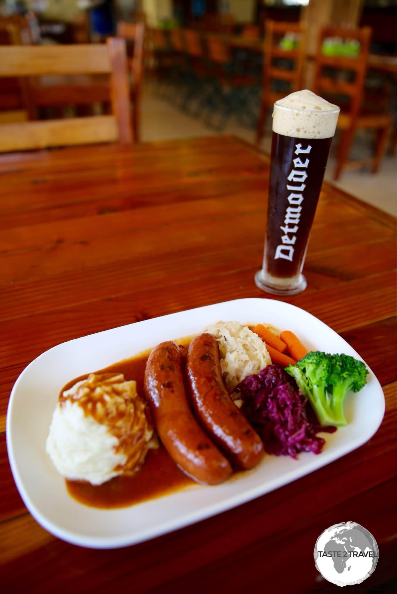 A delicious (lekker) lunch at McKraut's German restaurant in Inarajan.