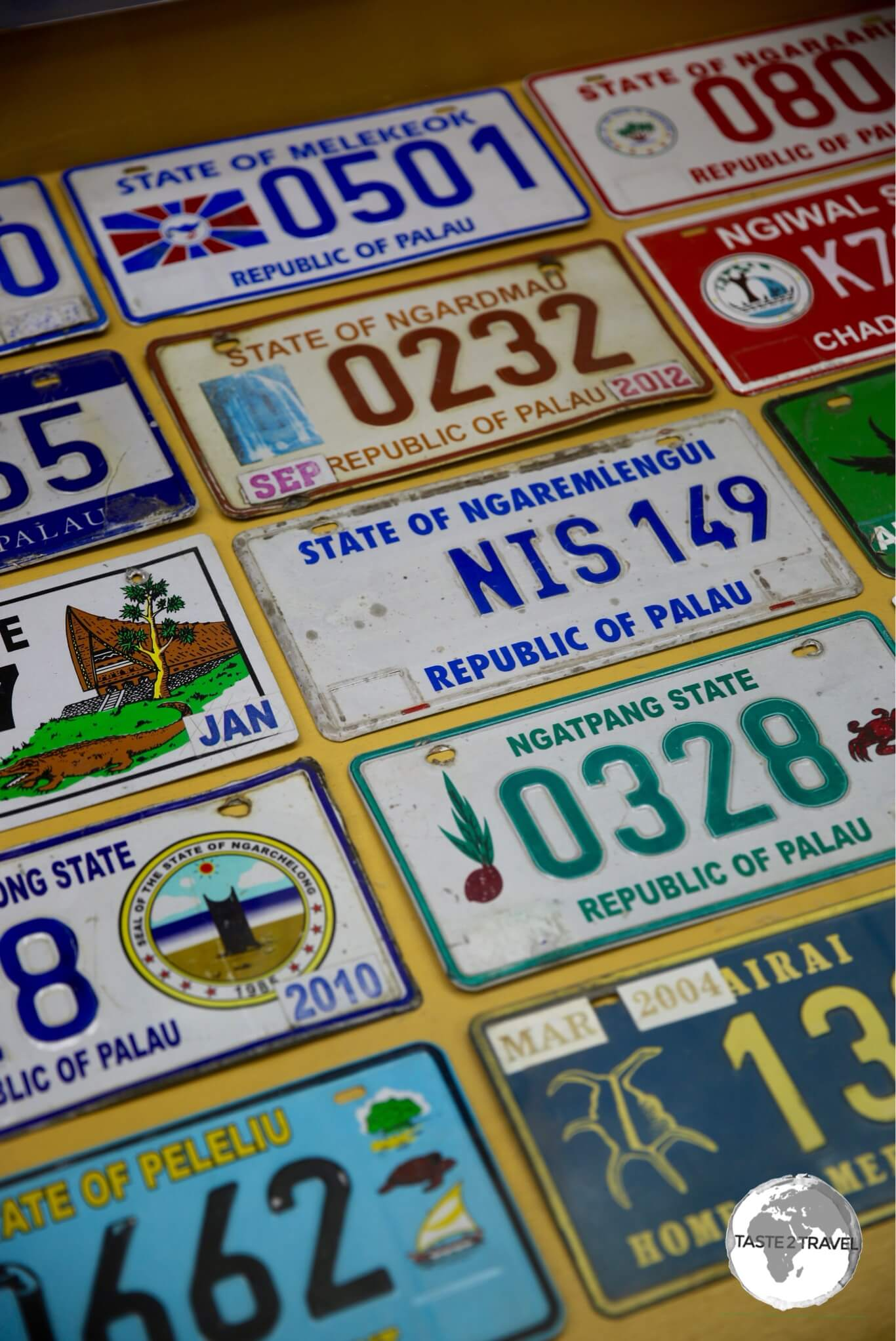 Palau is divided into sixteen states (most states have just a few hundred residents) with each state having their own number plate.