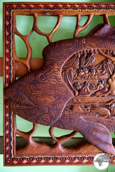 A traditional Palau 'story board' wood carving.