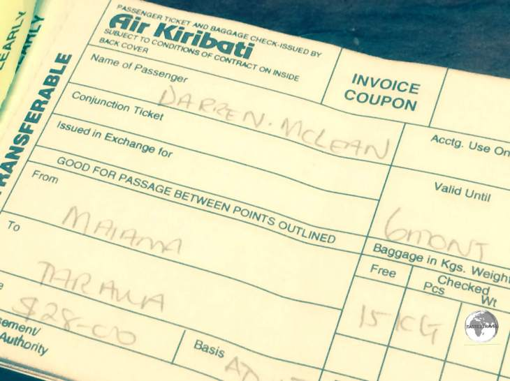 My inexpensive 'joy flight' ticket with Air Kiribati.