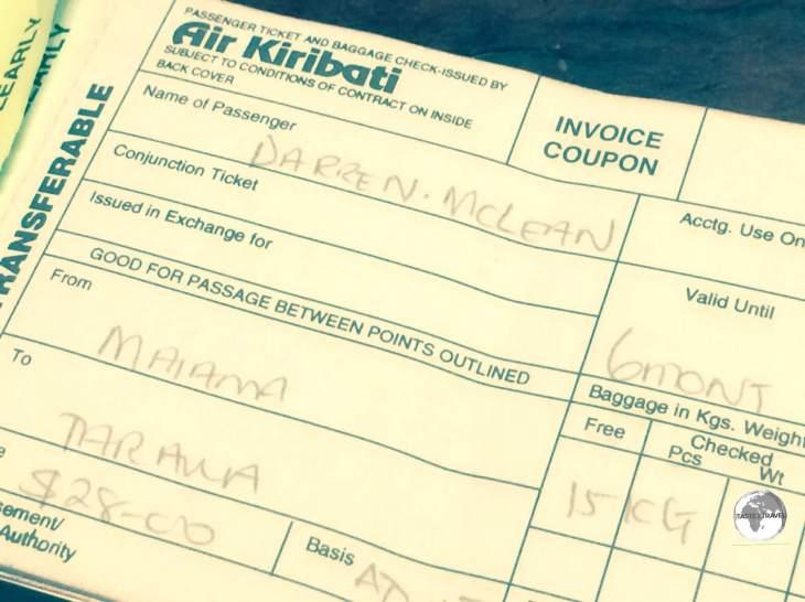 My inexpensive 'joy flight' ticket with Air Kiribati.