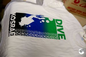 """Dive Kosrae"" shirt - screen printed at the Green Banana Paper Company"