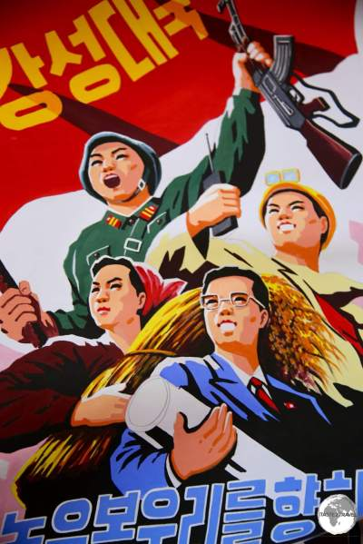 North Korean propaganda posters on sale at the Foreign Language Bookshop in Pyongyang.