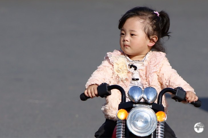 A young girl playing at the Pyongyang Central zoo.