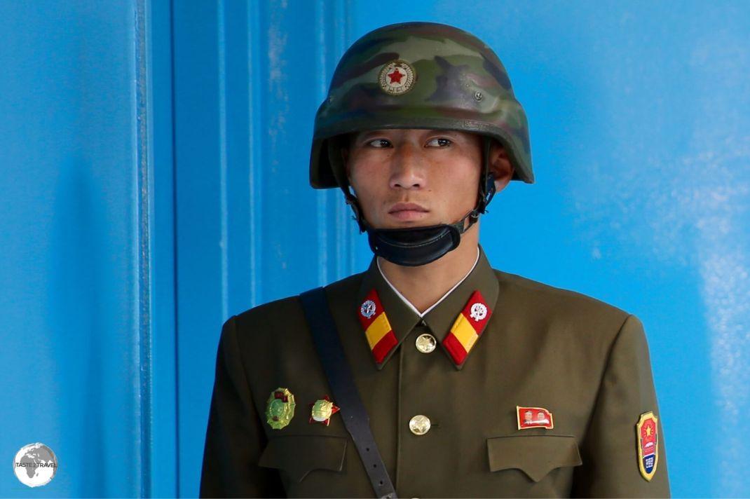 North Korean soldier at the DMZ.