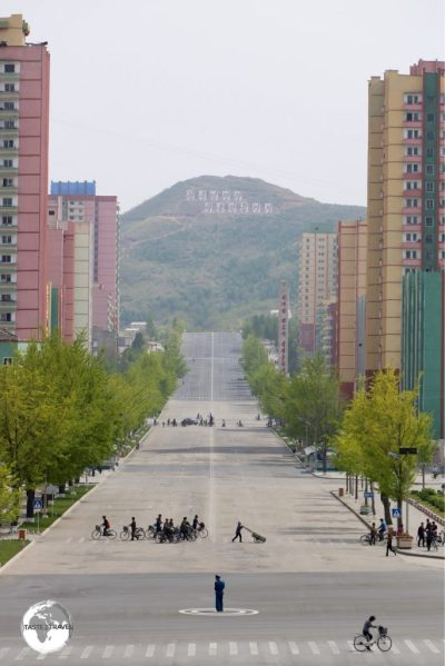 The 6-lane, main street of Kaeson, which was completely free of traffic, as is typical in North Korea.