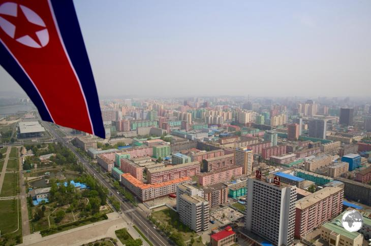 A view of the colourful apartment blocks of Pyongyang from the top of the Juche tower.