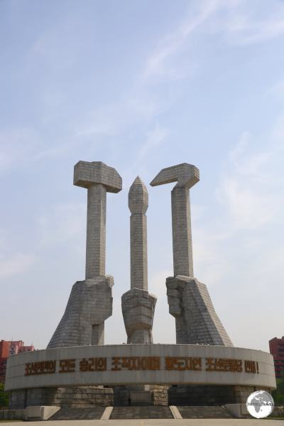 The <i>Monument to Party Founding</i> in Pyongyang.