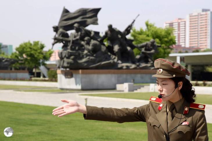 Our military guide at the <i>Victorious Fatherland Liberation War Museum</i> in Pyongyang.