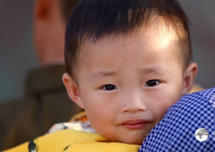 A young boy enjoying the Pyongyang zoo.