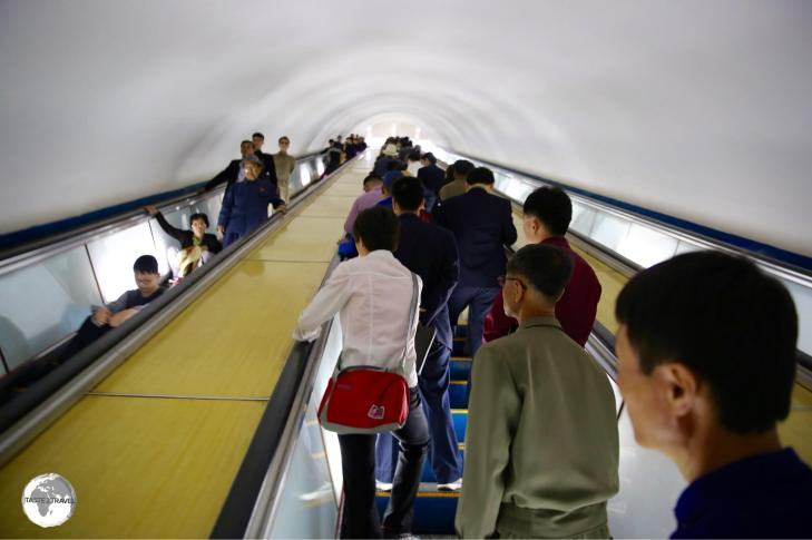 The Pyongyang Metro is the deepest metro system in the world at 110 metres. The long escalator ride lasts a few minutes, enough time to sit and relax.