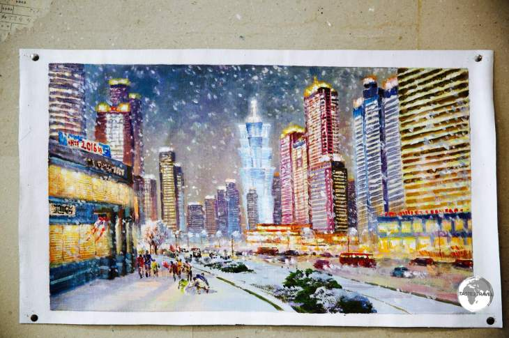 A painting at Mansudae Art Studio, showing a wintry <i>Mirae Future Scientists</i> street in Pyongyang.