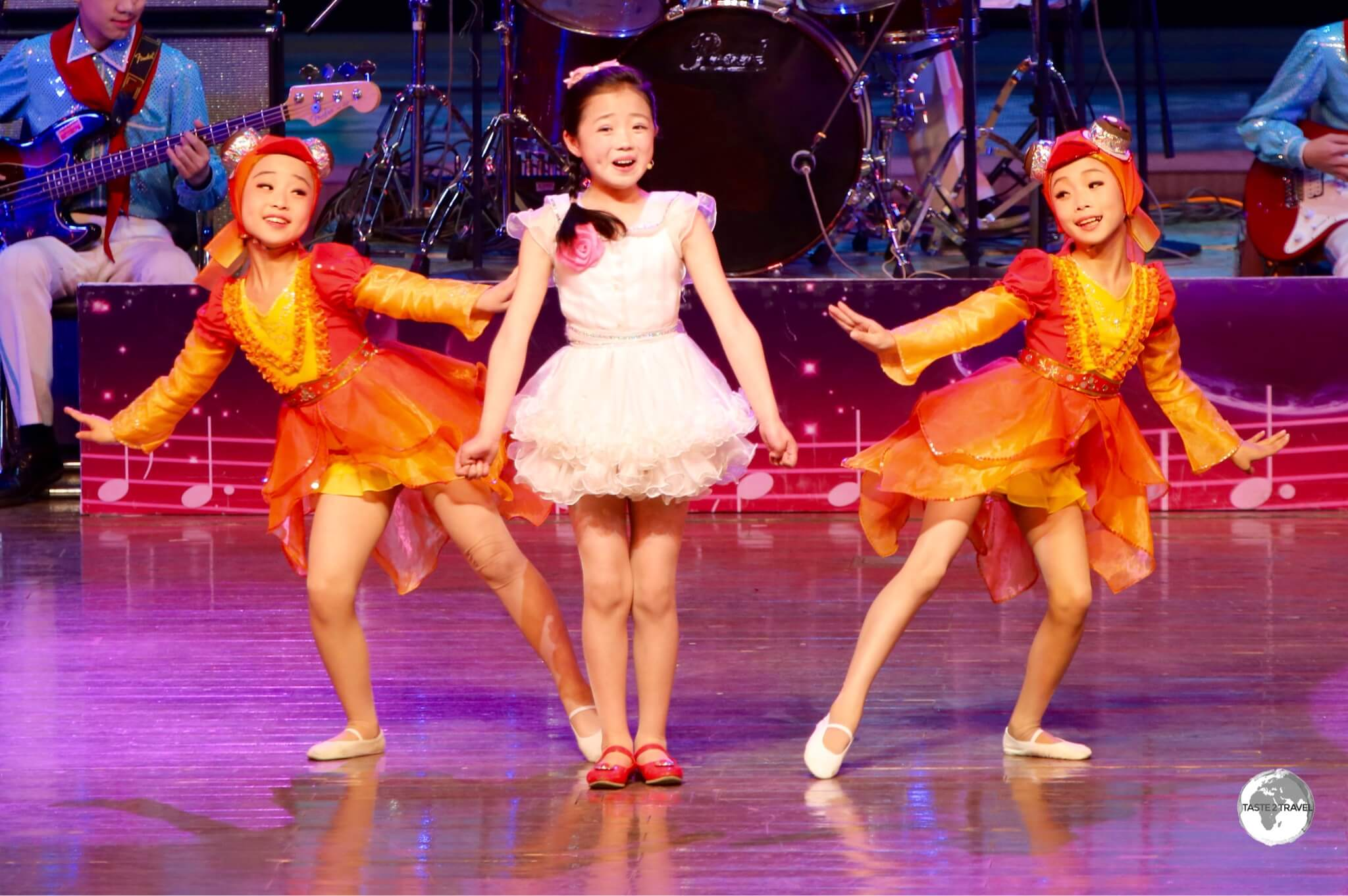 Performers at the Mangyongdae Children's Palace in Pyongyang.