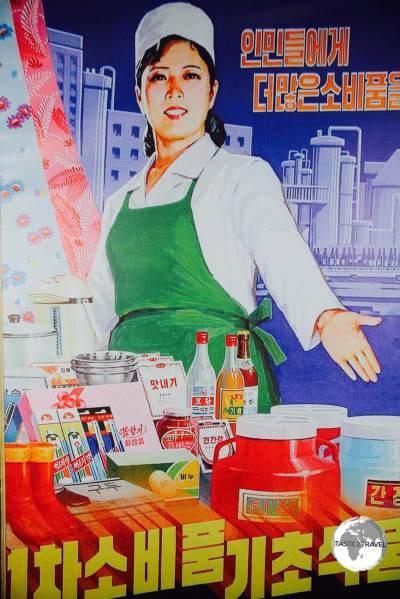 A propaganda poster at the <i>Paeksonri Foodstuffs factory in </i> Pyhongsong.