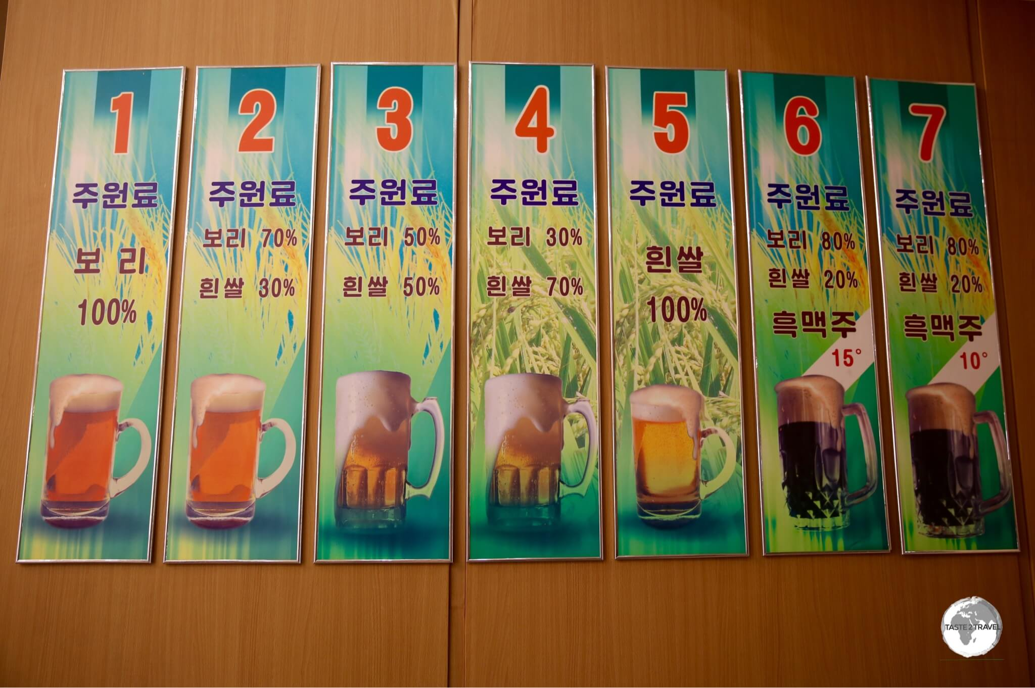 Beer selection at Taedonggang Brewery #3 in Pyongyang.