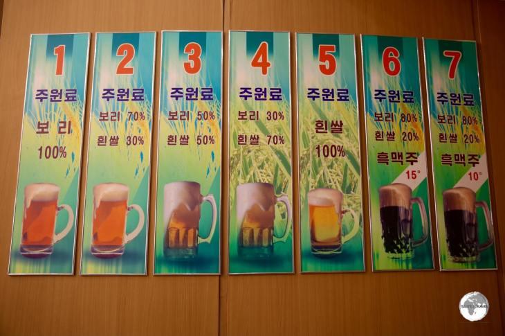 The craft beer selection at Taedonggang Brewery #3 in Pyongyang.